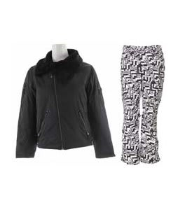 Burton B By Burton Roosevelt Bomber Jacket True Black w/ Burton Lucky Pants Black Labrinth Print