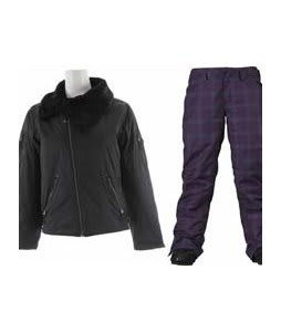 Burton B By Burton Roosevelt Bomber Jacket True Black w/ Burton Society Pants Mulberry Line Plaid