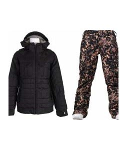 Burton Bliss Down Jacket True Black w/ Burton Lucky Pants Digi Floral True Black
