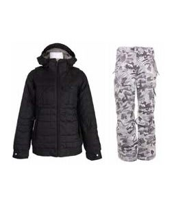 Burton Bliss Down Jacket True Black w/ Burton Fly Pants Shark Pop Camo