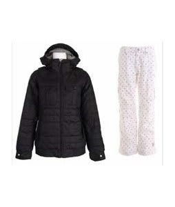 Burton Bliss Down Jacket True Black w/ Burton Lucky Snowboard Pant Multi Polka Squares