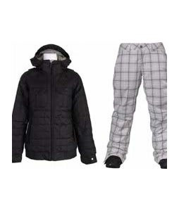 Burton Bliss Down Jacket True Black w/ Burton Society Pants Bright White Line Plaid Print