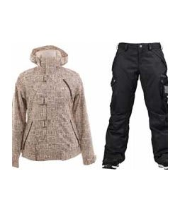 Burton Dream Jacket Chestnut Paper Print w/ Burton Fly Pants True Black/Dobby