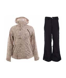 Burton Dream Jacket Chestnut Paper Print w/ Bonfire Evolution Pants Black