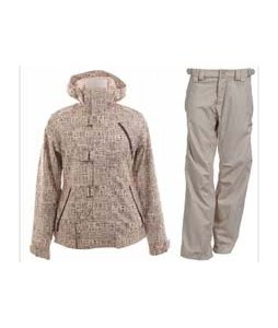 Burton Dream Jacket Chestnut Paper Print w/ Foursquare Kim Pants Sandstone Hatch