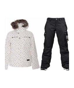 Burton Lush Jacket Multi Polka Squares Print w/ Burton Fly Pants True Black/Dobby