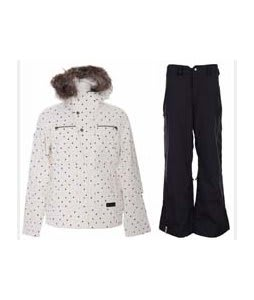 Burton Lush Jacket Multi Polka Squares Print w/ Bonfire Evolution Pants Black