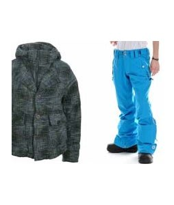 Burton Prep School Jacket Wasabi w/ Sessions Filter Pants Vivid Blue
