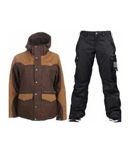 Burton Round Up Jacket Roasted Brown w/ Burton Fly Pants True Black/Dobby