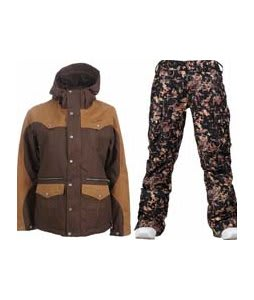 Burton Round Up Jacket Roasted Brown w/ Burton Lucky Pants Digi Floral True Black