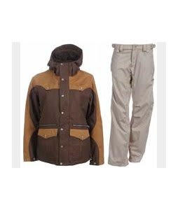Burton Round Up Jacket Roasted Brown w/ Foursquare Kim Pants Sandstone Hatch