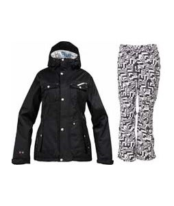 Burton TWC Riding Jacket True Black w/ Burton Lucky Pants Black Labrinth Print