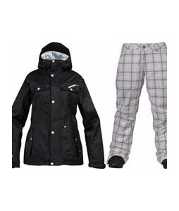 Burton TWC Riding Jacket True Black w/ Burton Society Pants Bright White Line Plaid Print