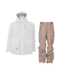 Foursquare PJ Jacket White w/ Foursquare Boswell Pants Tan A Poppin