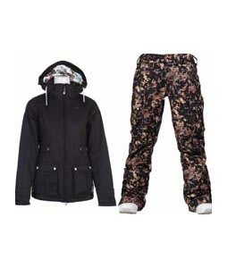 Burton TWC Puffy Jacket True Black w/ Burton Lucky Pants Digi Floral True Black