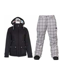 Burton TWC Puffy Jacket True Black w/ Burton Society Pants Bright White Line Plaid Print