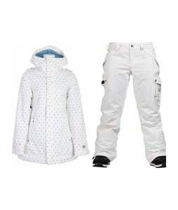 Burton TWC Weekend Jacket Wht Just Off A Dot w/ Burton Fly Pants Bright White