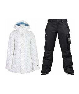 Burton TWC Weekend Jacket Wht Just Off A Dot w/ Burton Fly Pants True Black/Dobby