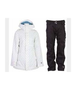 Burton TWC Weekend Jacket Wht Just Off A Dot w/ Ride Highland Pants Black