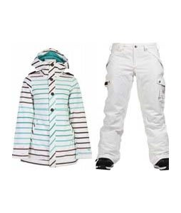 Burton TWC Weekend Jacket Tonal Magic w/ Burton Fly Pants Bright White
