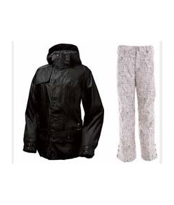 Burton After Hours Jacket True Black w/ Burton Mighty Snowboard Pant Chestnut Paper Print