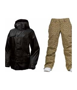 Burton After Hours Jacket True Black w/ Burton Society Pants Doodle Print Capers