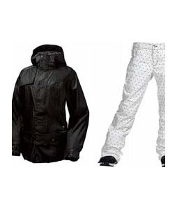 Burton After Hours Jacket True Black w/ Burton TWC Flared Pants Bright White Dot Print