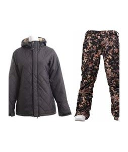 Burton TWC Cozy A-Line Jacket True Black w/ Burton Lucky Pants Digi Floral True Black