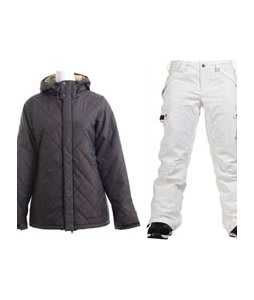 Burton TWC Cozy A-Line Jacket True Black w/ Burton Fly Pants Bright White