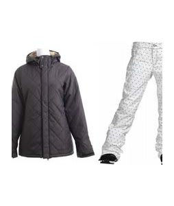 Burton TWC Cozy A-Line Jacket True Black w/ Burton TWC Flared Pants Bright White Dot Print