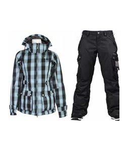 Burton TWC Puffy Jacket Blotto Grey Siouxies w/ Burton Fly Pants True Black/Dobby