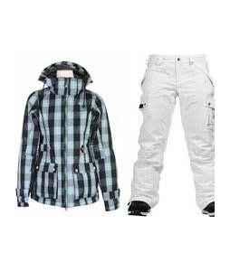 Burton TWC Puffy Jacket Blotto Grey Siouxies w/ Burton Fly Pants Bright White