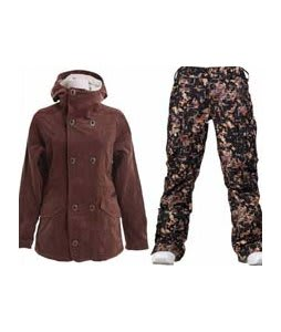 Burton Cherish Jacket Chestnut Cord w/ Burton Lucky Pants Digi Floral True Black