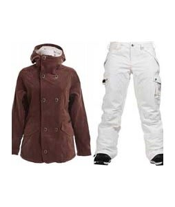Burton Cherish Jacket Chestnut Cord w/ Burton Fly Pants Bright White