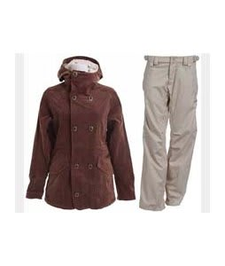 Burton Cherish Jacket Chestnut Cord w/ Foursquare Kim Pants Sandstone Hatch