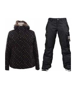 Burton Lush Jacket Black Polka Squares w/ Burton Fly Pants True Black/Dobby