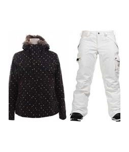 Burton Lush Jacket Black Polka Squares w/ Burton Fly Pants Bright White
