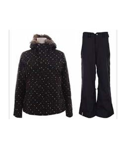 Burton Lush Jacket Black Polka Squares w/ Bonfire Evolution Pants Black