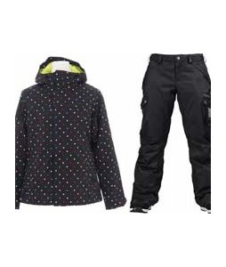 Burton Society Jacket True Black Polka Sqrs Print w/ Burton Fly Pants True Black/Dobby