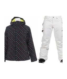 Burton Society Jacket True Black Polka Sqrs Print w/ Burton Fly Pants Bright White