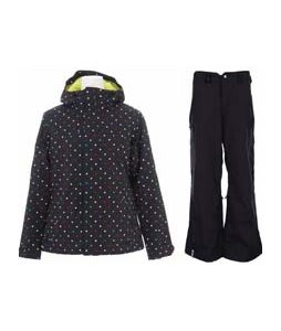 Burton Society Jacket True Black Polka Sqrs Print w/ Bonfire Evolution Pants Black