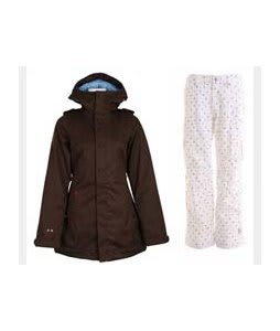 Burton TWC Weekend Jacket Mocha w/ Burton Lucky Snowboard Pant Multi Polka Squares