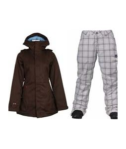 Burton TWC Weekend Jacket Mocha w/ Burton Society Pants Bright White Line Plaid Print