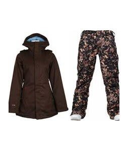 Burton TWC Weekend Jacket Mocha w/ Burton Lucky Pants Digi Floral True Black