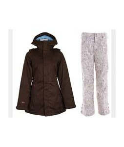 Burton TWC Weekend Jacket Mocha w/ Burton Mighty Snowboard Pant Chestnut Paper Print