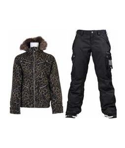 Burton Lush Jacket Capers Safari w/ Burton Fly Pants True Black/Dobby