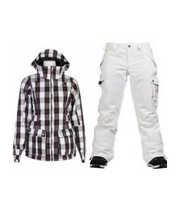 Burton TWC Puffy Jacket Bright White Siouxies w/ Burton Fly Pants Bright White