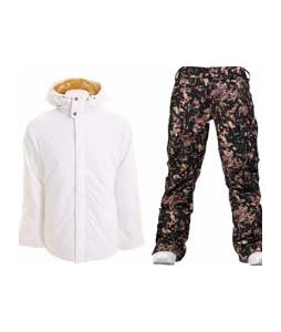 Burton TWC Cozy A-Line Jacket Bright White w/ Burton Lucky Pants Digi Floral True Black