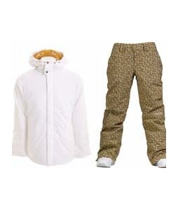 Burton TWC Cozy A-Line Jacket Bright White w/ Burton Society Pants Doodle Print Capers