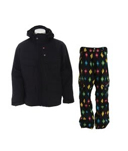Foursquare Wright Jacket Black w/ Sessions Gridlock Pants Black Multi Stargyle